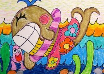 银奖油棒画-快乐的鲸鱼
