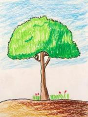 铜奖油棒画-我的大树