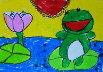 优秀奖水墨画-青蛙跳跳跳