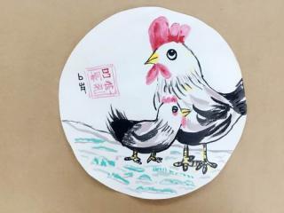 银奖水墨画-鸡