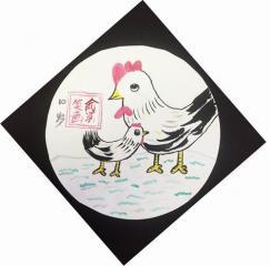 铜奖水墨画-鸡