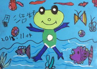 铜奖手工画-青蛙家族