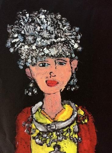 金奖版画-美丽的苗族少女