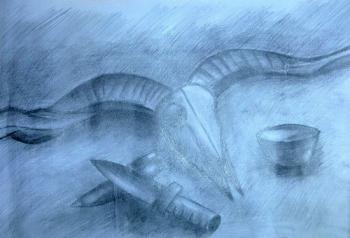 铜奖素描画-羊骨静物