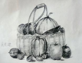 金奖素描画-蔬菜篮子