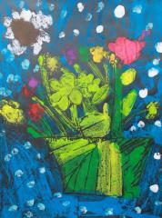 银奖版画-花盆里的花
