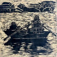 银奖版画-渔民