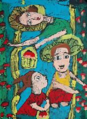 金奖版画-采蘑菇