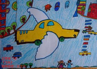 优秀奖儿童画-飞车