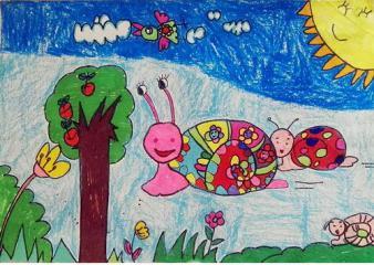 铜奖儿童画-蜗牛赛跑