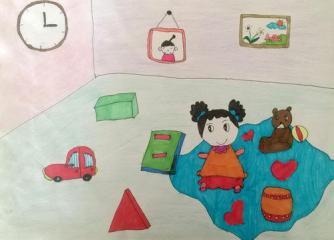 优秀奖儿童画-卧室一角