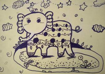 优秀奖儿童画-可爱的大象