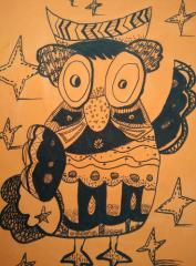 铜奖儿童画-有趣的猫头鹰