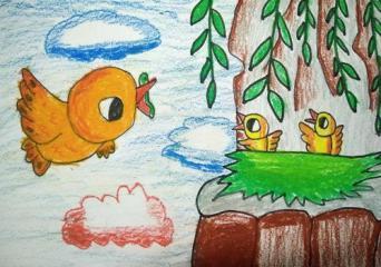 优秀奖儿童画-母爱