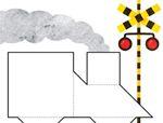 七巧板拼图图案:火车