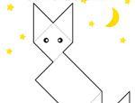 几何形状拼板拼图:小猫