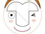 心形八巧板拼图:脸谱