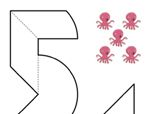 心形八巧板拼图:数字5和6