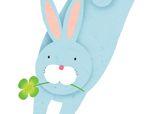 几何形状拼板拼图:兔子