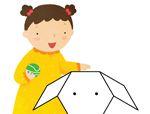 几何形状拼板拼图:小狗